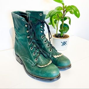 VINTAGE Forest Green Leather Oxford Laredo Boots